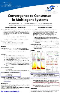 Convergence to Consensus in Multiagent Systems